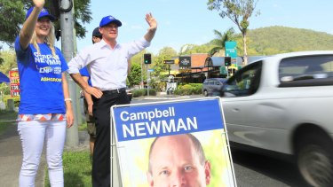 Campbell Newman campaigns in Ashgrove ahead of the 2012 election.