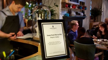 The Hare & Grace's sign to advise customers about using a PIN.