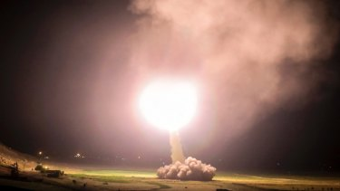 A missile is fired from Kermanshah in western Iran targeting the Islamic State group in Syria.