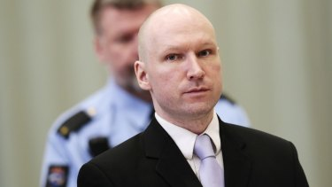 Right wing extremist Anders Breivik in court in March 2016.