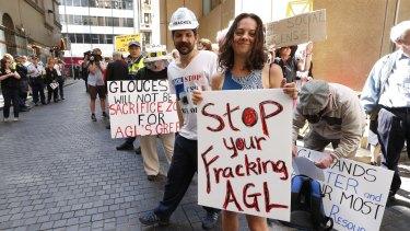 Protestors at AGL's AGM in Sydney last October.