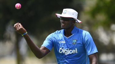Think pink: West Indies captain Jason Holder during a practice session in Brisbane on Monday.