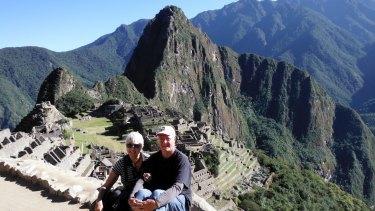 Australian champions: Liz and Bruce Hanisch on the geocache trail in Peru at Machu Picchu.
