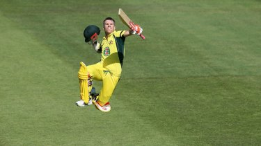 Over the moon: Warner's century against Pakistan on Sunday was his fifth of the home summer.