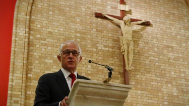 Prime Minister Malcolm Turnbull during a service at St Christopher's Cathedral in Canberra to mark the start of the parliamentary year.