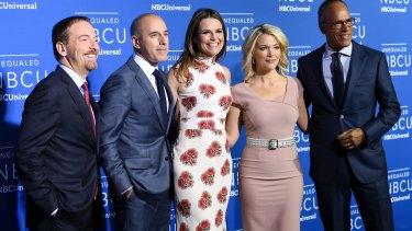 Matt Lauer (second from left) with NBC News journalists Chuck Todd, Savannah Guthrie, Megyn Kelly and Lester Holt.