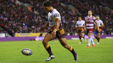 Kiwi allegiance: Kodi Nikorima chases a loose ball to score a try during the World Club Series match between Wigan Warriors and Brisbane Broncos at DW Stadium.