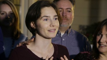Amanda Knox outside her mother's home in the US city of Seattle in March.
