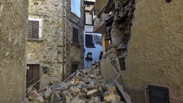 Damaged buildings in Trisungo following a massive earthquake near Perugia, Italy on Sunday.