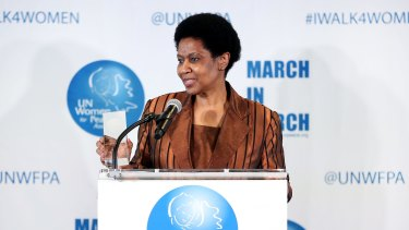 Executive Director of UN Women Phumzile Mlambo-Ngcuka speaks on stage at the 4th Annual UN Women For Peace Association Awards Luncheon at United Nations on March 10, 2017 in New York City.