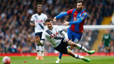 Dele Alli, of Tottenham Hotspur, is challenged by Crystal Palace's Joe Ledley in their FA Cup game at White Hart Lane on Sunday.
