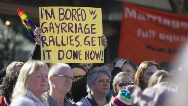 Canberrans turn out in large numbers to show their support for the love in canberra rally for marriage equality.