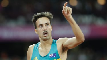 Australia's Luke Mathews reacts after winning his 1500m heat at the World Athletics Championships in London.