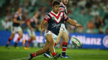Rookie: Jayden Nikorima kicks during the round four NRL match between the Sydney Roosters and the Manly Sea Eagles at Allianz Stadium.