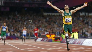 Oscar Pistorius celebrates winning the Men's 400m T44 final during the London 2012 Paralympic Games.
