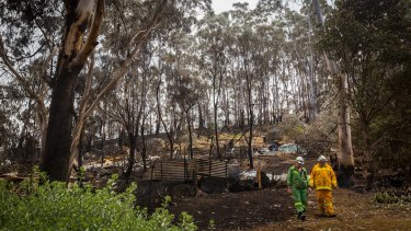 Firefighters inspect the damage caused by the Otways fire.