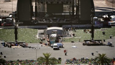 The day after: Debris is strewn across the site of the music festival.