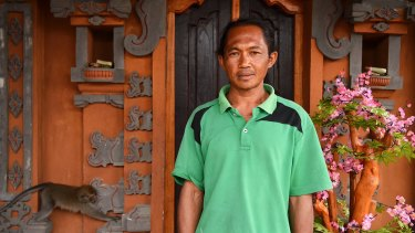 Balinese priest Jero Mangku Ada in his sacred room at home in Temukus village, 6km from the summit of Mount Agung.