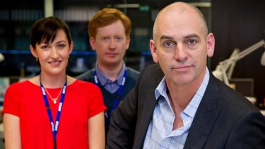 Celia Pacquola with Luke McGregor and Rob Sitch in Utopia.