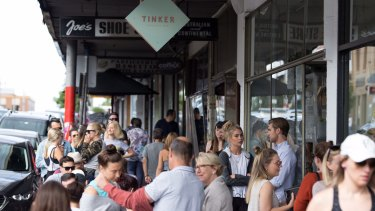 Queues outside Moussi's cafe Tinker in Northcote.