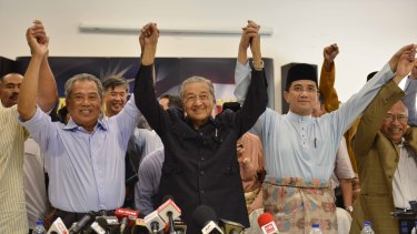 Former Malaysian prime minister Mahathir Mohamad attends a special press conference calling for Najib Razak to quit in Kuala Lumpur in March 2016.