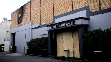 The rear entrance to The Bellevue function centre in Bankstown that was damaged by fire.