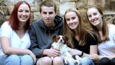 Charlie with Pierra Bell and Jake, Lucy and Sophia Paynter.