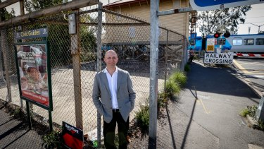 """James Legge, from 6 Degrees architects, at the site for the proposed new """"deep green"""" apartment building next to Fairfield railway station."""