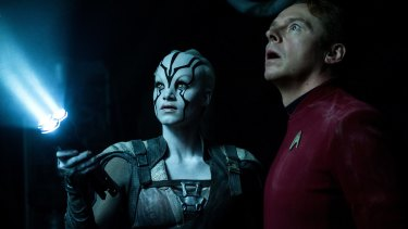 Sofia Boutella plays Jaylah and Simon Pegg - who co-wrote the script - plays Scotty in <i>Star Trek Beyond.</i>