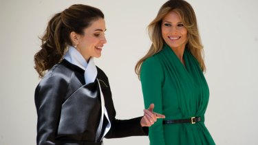 Queen Rania of Jordan (L) and first lady Melania Trump.