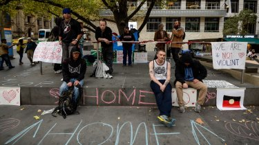 A group of homeless people have set up camp in City Square.