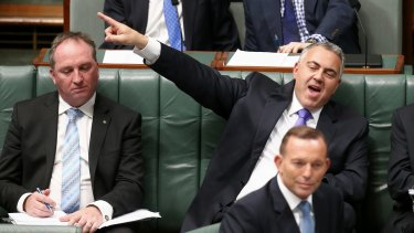 The only way (for GDP) is up: Treasurer Joe Hockey and Prime Minister Tony Abbott during Question Time on Wednesday.