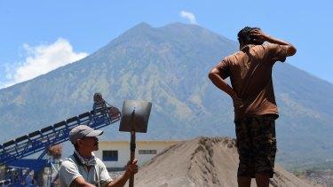 Mount Agung seen from the PT Bhale Dana sand mine in Kubu.