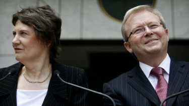 Helen Clark and Kevin Rudd in 2008.