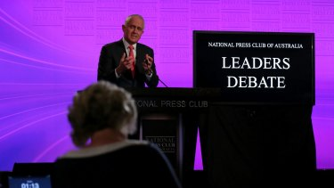 Prime Minister Malcolm Turnbull takes a question.