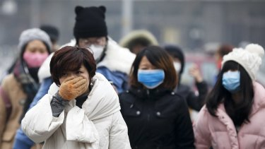 A woman uses her hand to cover her face from pollutants as people walk along a street on a polluted day in Beijing last December.