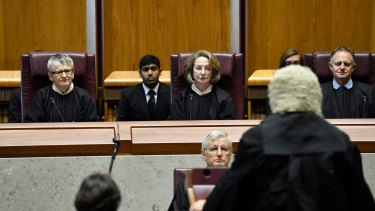 Attorney-General George Brandis makes a speech at Chief Justice Susan Kiefel' swearing-in ceremony.