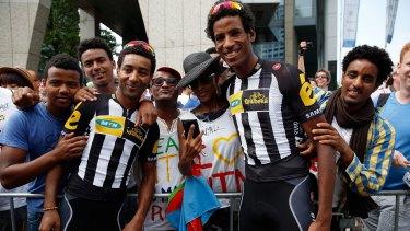 Merhawi Kudus and Daniel Teklehaimanot of Eritrea in this year's Tour de France. Eritrean athletes have a habit of seeking asylum abroad.