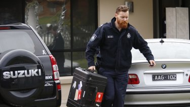 Police conduct terror raids in Hallam, Melbourne, on April 18.
