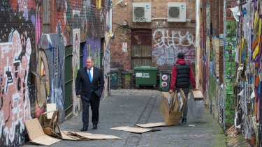 "Lord Mayor Robert Doyle in a lane behind the council-owned ""Munro site"". Melbourne City Council wants to redevelop the site as part of its revamp of Queen Victoria Market."