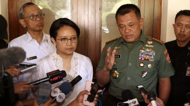 Indonesian Armed Forces Chief General Gatot Nurmantyo, right, with Foreign Minister Retno Marsudi.