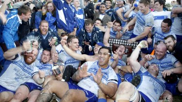 Champions: Eastwood celebrate beating Manly in the Shute Shield final in 2015.