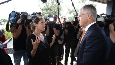 Single mother of two Melinda confronts Prime Minister Malcolm Turnbull.
