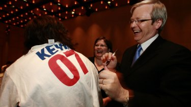 Kevin Rudd was speaking at a fundraiser for Anthony Albanese, to mark ten years since the Ruddslide swept Labor to power.