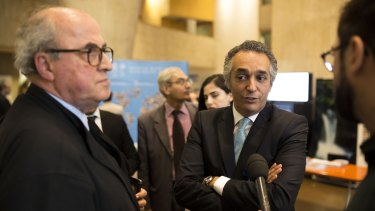 The Palestinian and Jordanian ambassadors to UNESCO talk to reporters after the UN's cultural body passed a resolution on conservation of Jerusalem's Old City, which Palestinians claim as their capital. The resolution was condemned by Israeli officials.