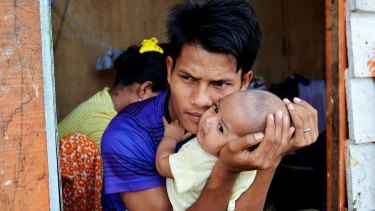 Rohingya refugees from Myanmar at shelters in Aceh Province, Indonesia, in January.