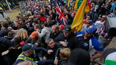 Members of Reclaim Australia, No Room For Racism, United Patriot Front clash during an anti-mosque rally in Bendigo.