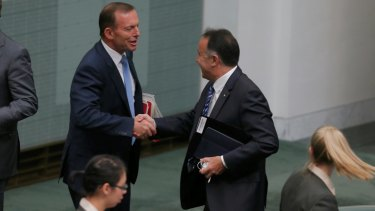 Defeated MP Andrew Nikolic, with former prime minister Tony Abbott.