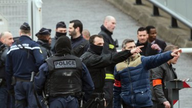 French police at Orly airport, south of Paris,  after the attack on Saturday. France has been under a state of emergency since a terrorist attack in Paris in late 2015.
