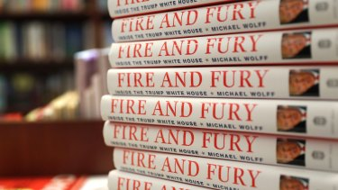 """Copies of the book """"Fire and Fury: Inside the Trump White House"""" by Michael Wolff in Chicago."""